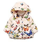 Meolin Girl Hooded Coat Lightweight Jacket Winter Cotton Thick Warm Zipper Butterfly Outwear Clothes,creamy-white,100cm