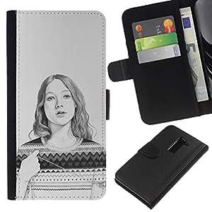 iBinBang / Flip Funda de Cuero Case Cover - Sweater Pencil Drawing Portrait - LG G2 D800 D802 D802TA D803 VS980 LS980