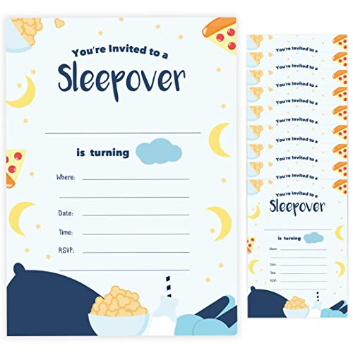 Slumber Party Invitation - Boy Sleepover Style 2 Happy Birthday Invitations Invite Cards (10 Count) With Envelopes Boys Girls Kids Party (10ct)