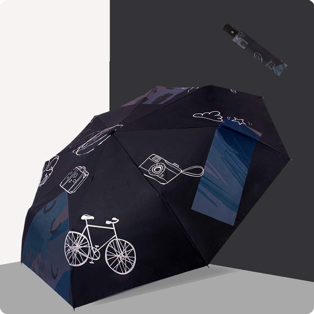 Color : Pink, Size : Manual Qeeuanl Small Fresh Cartoon Student Automatic Umbrella Dual-use Three-fold Men and Women Double Umbrella Sun Umbrella UV Protection