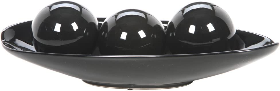 Hosley Black Decorative Bowl and Orb Set. Ideal GIFT for Weddings Special Occasions and for Decorative Centerpiece in Your Living Dining Room O3 (Black)