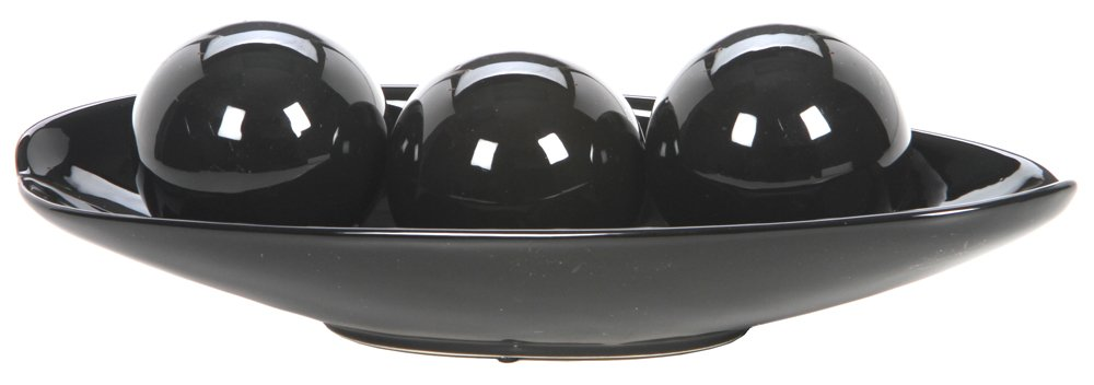 Hosley Black Decorative Bowl and Orb Set. Ideal Gift for Weddings, Special Occasions, and for Decorative Centerpiece in Your Living/Dining Room O3
