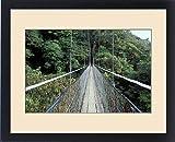 Framed Print of Central America, Costa Rica, Monteverde Cloud Forest Suspension Bridge along