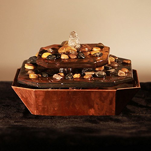 Sunnydaze Copper and Slate Table Rock Tabletop Fountain, 6 Inch Tall