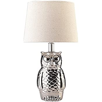 Better homes and gardens owl lamp base amazon table lamps with owl shape holder and white linen shade create a welcoming ambiance in hour mozeypictures Choice Image