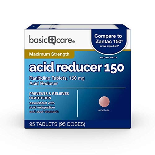 Basic Care Acid Reducer Ranitidine Tablets, 95 Count, 150 mg