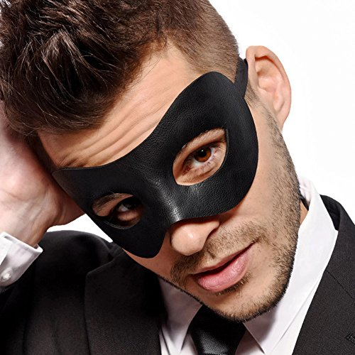 Masquerade Ball Costumes And Masks - Classic - Men's Black Masquerade Mask - Faux Leather - Venetian - Mens - Unisex - Fancy Goods