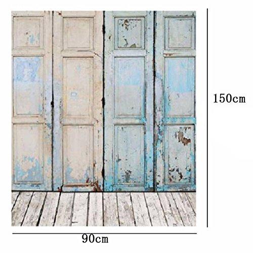 Showyou 3x5ft Vintage Oil Painting Vintage Wooden Door Background Studio Props Silk Photography Backdrop