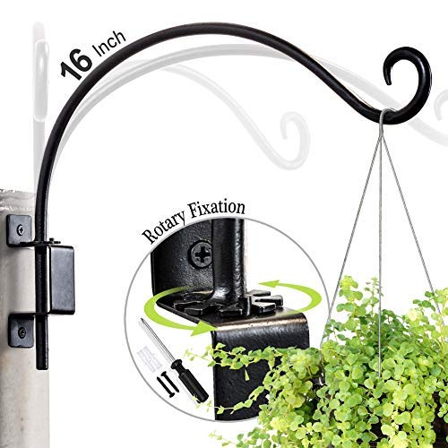 Hand-Forged Swivel Hanging Plant Bracket (16 inches/Black) More Convenient Use and Designed with Rotary Fixation for Wall Plant Hooks
