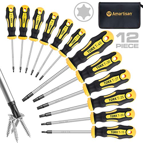 Amartisan 12-Piece Magnetic Torx Screwdrivers Set, Magnetic Torx Driver Star Screwdrivers Set T5 - T40 Best Choice