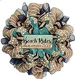 Beach Rules Handmade Deco Mesh Coastal Wreath