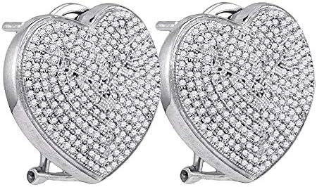 The Diamond Deal Sterling Silver Womens Round Diamond Heart Omegaback Earrings 100 Cttw