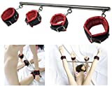 Junoai Detachable Metal Spreader Bar Bondage Restraint Kit with Adjustable Wrist and Ankle Cuffs
