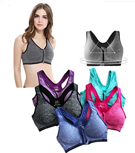 BRABIC Women's High Impact Sport Bra With Front Zipper (36B, GreyBluePurpleGreen)