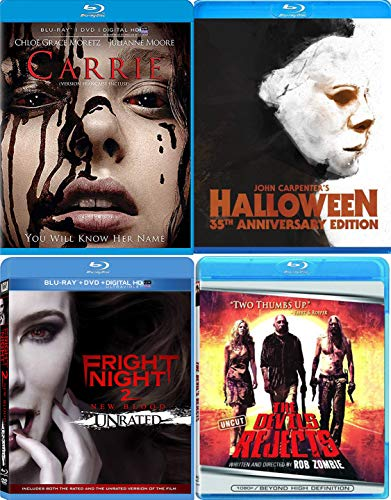 Unthinkable Horror Blu-ray 4 Pack - John Carpenter's Halloween 35th Anniversary, Fright Night 2 & Carrie (Blu-ray) Devils Rejects Rob Zombie 4-Movie Terrifying Bundle -