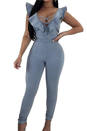 54cabeef5c8 XTX Women s Deep V Neck Long Sleeve Bodycon Denim Jumpsuits Slim Fit  Rompers Light Blue US