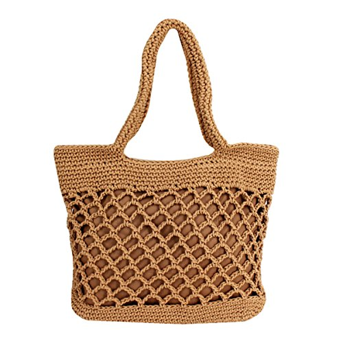 Sherry Handbag Women Fashion Woven Straw Bag Summer Large Beach Tote Bag Travel Shopper Shoulder Bags (Light ()