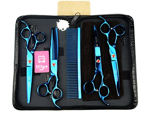 - LILYS PET Professional PET Dog Grooming Coated Titanium Scissors Suit Cutting&Curved&Thinning Shears (7.0 inches, Blue)