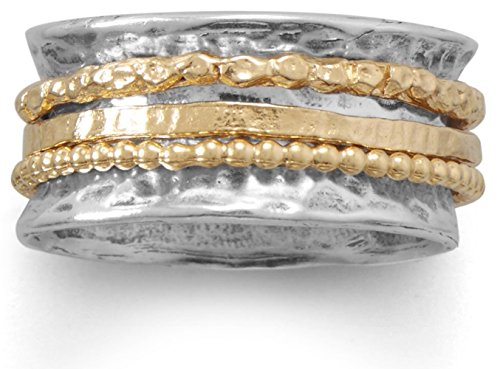 Oxidized Hammered Sterling Silver Ring, 14K Gold Plated Sterling Spinner Rings, Sizes 6-10