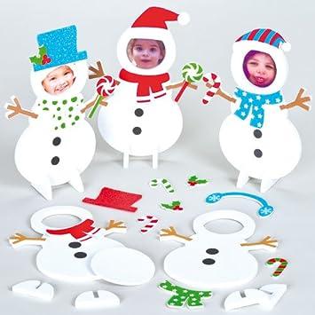 Moosgummi Bilderrahmen Bastelsets Schneemann Fur Kinder Zum Basteln Und Verzieren Weihnachtsdeko 5 Stuck Amazon De Spielzeug