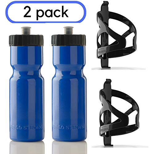 50 Strong 22 oz. BPA Free Squeeze Bike Water Bottle with Bicycle Cage - 2 Pack - Made in USA (Blue)