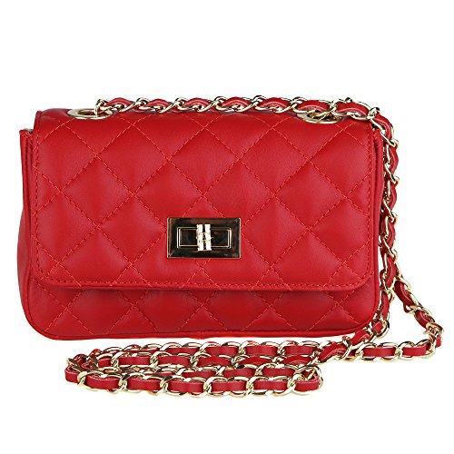 Mujer Italy Cuero En Hombro In Cm Acolchado Rojo Borse Bolsa 19x13x6 Genuino Embrague Made Clutch De Chicca O8xEqw0A8