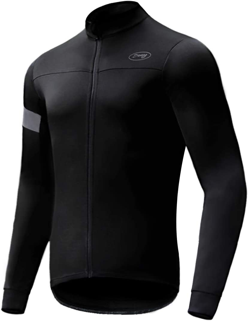 Dooy Maillot de cyclisme thermique /à manches longues respirant en Softshell avec fermeture /éclair et poches arri/ère