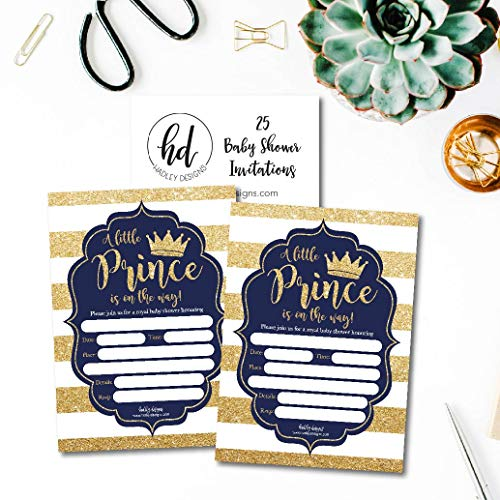 25 Little Prince Baby Shower Invitations, Navy & Gold Sprinkle Invite for Boy, Modern Gender Theme, Cute Printed Fill or Write in Blank Printable Card, Vintage Unique Coed Party Stock Paper Supplies by Hadley Designs (Image #4)