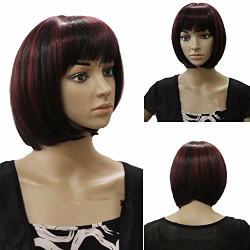 Real Harley Quinn Costumes (7Buy New Arrival Fashion Girls Women Short Straight Bob Red Black Wigs Full Hair for Harley Quinn Cosplay ,Dancing Party)