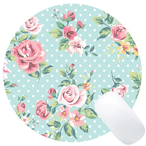Wknoon Vintage Floral Round Gaming Mouse Pad Custom Design (Rose Flowers and White Polka Dots)