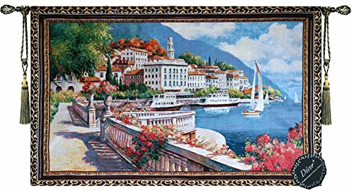 Beautiful Lake Como Italy Fine Tapestry Jacquard Woven Wall Hanging Art (Italian Tapestry Wall Hanging)