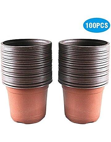 19f4693ef27b7b KINGLAKE 100 PCS Plastic Plant Flower Pots 10 CM Seed Tray Perfect for  Gardener
