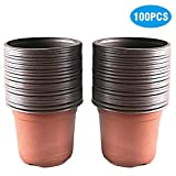 KINGLAKE 100 PCS Plastic Plant/Flower Pots 10 CM Seed Tray Perfect for Gardener (Middle Size)