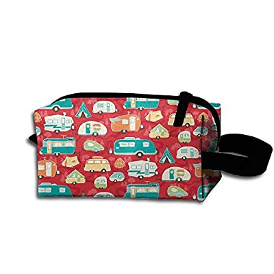Road Trip Road Trailer Red Storage Cosmetic Bag Portable Travel Makeup Bag Packing Pouches