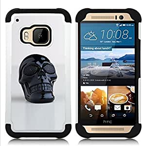 GIFT CHOICE / Defensor Cubierta de protección completa Flexible TPU Silicona + Duro PC Estuche protector Cáscara Funda Caso / Combo Case for HTC ONE M9 // 3D Printed Plastic Skull Death Black //