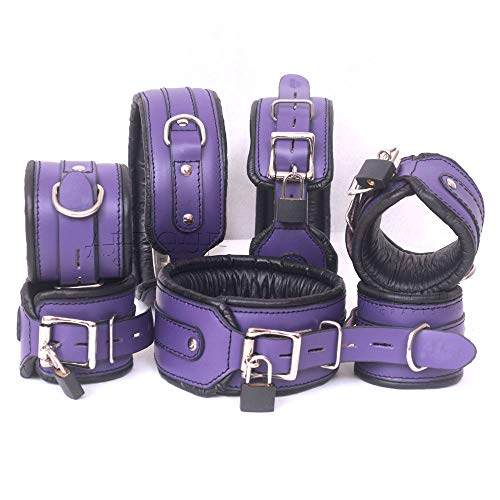 Real Cow Hide Leather Hand Made Wrist Ankle Thigh Cuffs & Collar Set 7 Pieces Purple & -
