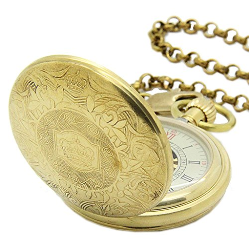 E-future-Pure-Brass-Retro-Skeleton-Unisex-Roman-Gold-Mechanical-Chain-Pocket-Watch