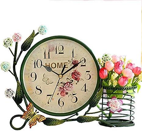 S.W.H European Garden Style Mute Table Reloj Digital Sala de Estar Dormitorio Reloj Decorativo con Soporte Ornamentos de Hierro Forjado creativos