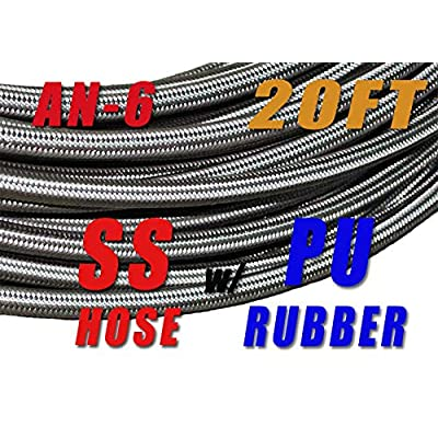 -6 AN AN6 Stainless Steel Braided Fuel Line Hose E85 8.3mm (5/16) – Price for 20FT: Automotive