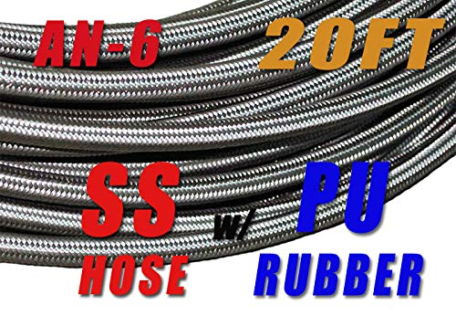 -6 AN AN6 Stainless Steel Braided Fuel Line Hose E85 8.3mm (5/16) - Price for 20FT
