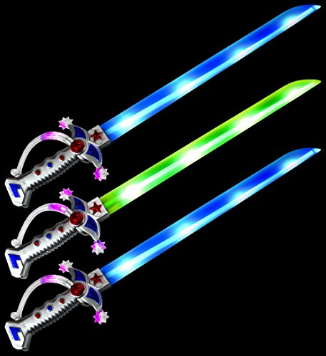 Set of 3 VT Astro Pirate Flashing LED Light Up & Sound Party Favor Toy Light Sword Sabers ()
