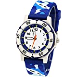 ELEOPTION Kids Watches for Boys, Waterproof Children Sport Watches Kids Digital Wrist Watches Outdoor Analog Quartz Watch With Soft Silicone Band For Boys Girls Students(Camouflage- Blue)