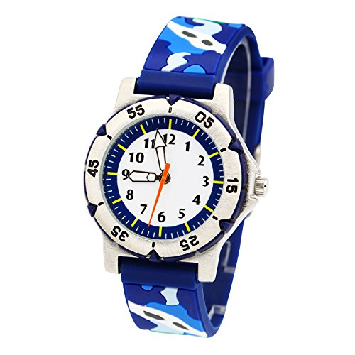 ELEOPTION Kids Watches for Boys, Waterproof Children Sport Watches Kids Digital Wrist Watches Outdoor Analog Quartz Watch With Soft Silicone Band For Boys Girls Students(Camouflage- Blue) by Eleoption