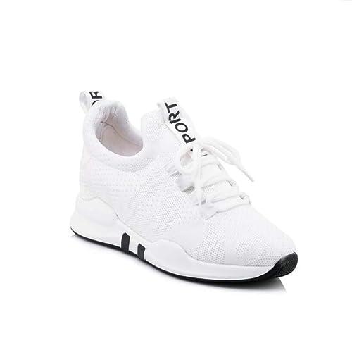 mogeek Zapatos de Cuña para Mujer Alta Transpirables Zapatillas de Deporte Talón Plataforma 5.5 cm Sneakers