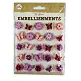 Coloured 3D Glitter Embellishments - Lilac, Pink Flowers and Butterflies - by Craft Corner