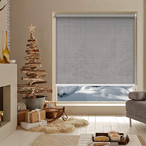 Keego Roller Shades for Windows Light Filtering No Drill Corded Roller Blinds Custom Size No-Tools Installation Window Shades Interior for Bedroom and Kitchens[Gray Light Filtering,37″ W x 60″ H]
