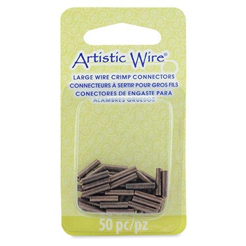 Artistic Wire Tubes, 10mm, Color, for 16 Gauge, ID 1.5 mm, 50 Pieces Antique Copper Large Wire Crimp Connectors, None