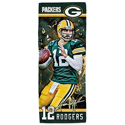 Mission NFL Player EnduraCool Microfiber Towel, Green Bay Packers Aaron Rodgers, 12
