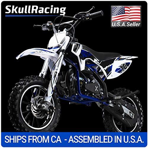 SkullRacing Gas Powered Mini Dirt Bike Motorcycle 50RR (Blue) ()