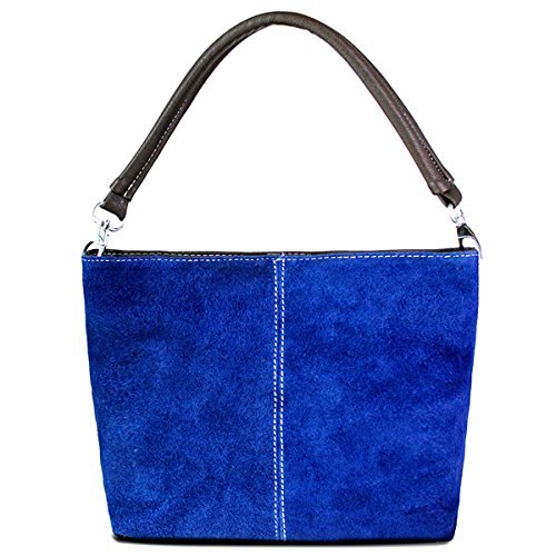 Strap Leather Shoulder Blue Italian Bag Small Bucket Slouch Genuine Single Womens Hobo Suede qZpHPwx
